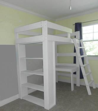 Solid Wood Twin Loft Bed W Built In Bookcase Amp Desk Sale