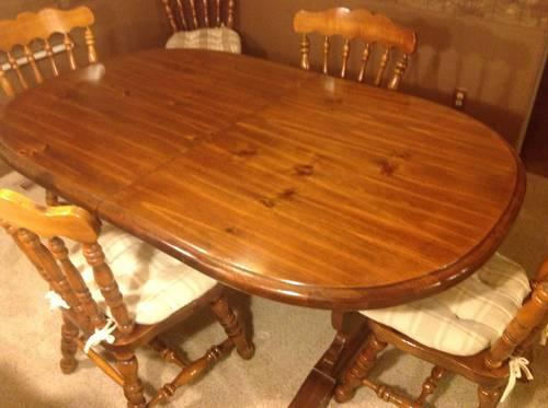 Solid Wood Vintage Trestle Dining Table Six Chairs For