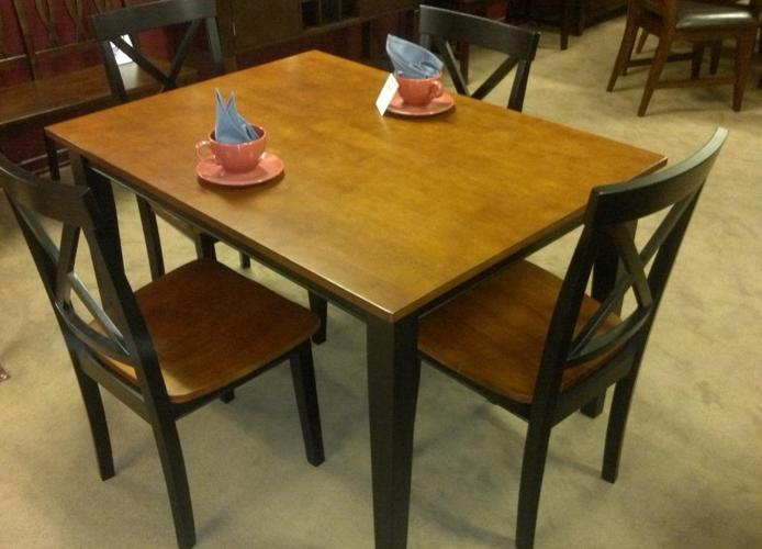 Solid Wood Cherry Top Dinette Set Table And Four Chairs