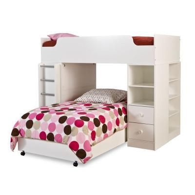 South Shore Furniture Clever Pure White Twin loft Bed 4-Pieces