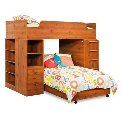 South Shore Furniture Clever Sunny Pine Twin loft Bed 4-Pieces
