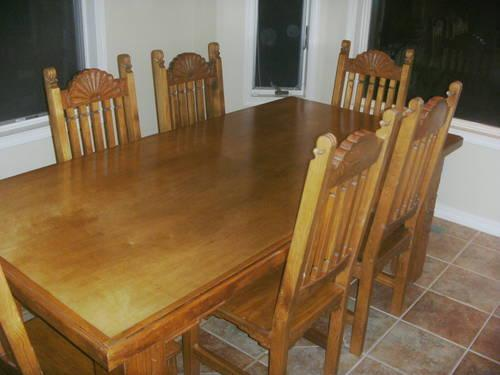 rustic solid pine dining table w 6 chairs made in mexico for sale