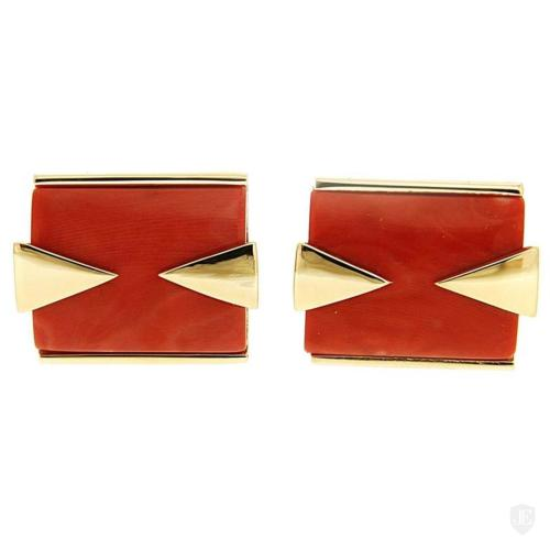 Special Cut Rectangle Red Coral Cufflink with Triangle