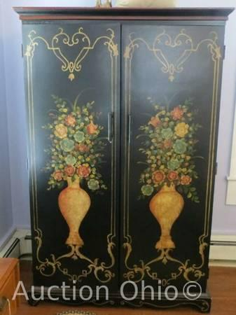 Spectacular Classic French Hand-Painted Armoire Wardrobe Cabinet So Chic - $450