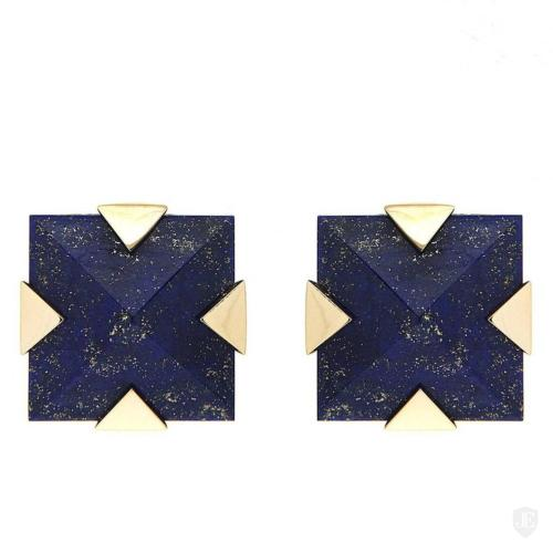 Square Lapis and Gold Motif Earrings