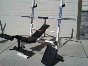 Squat rack olympic weight bench with 300lb weight set for Squat rack set