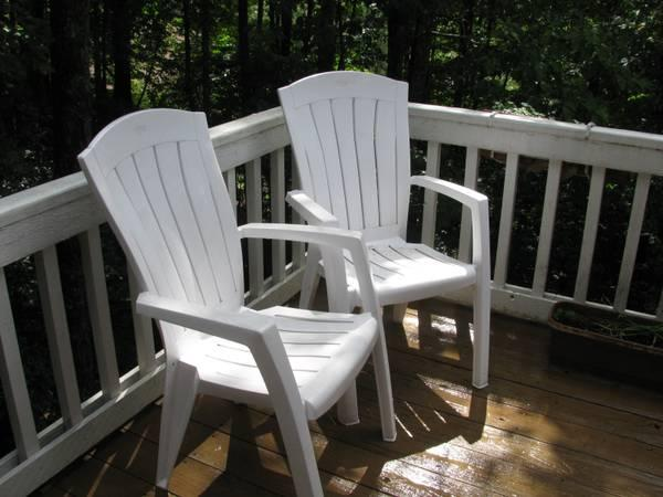 Stackable Plastic Lawn Chairs   $10