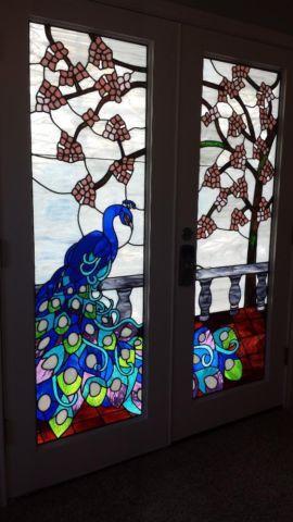 Stained Glass Peacock Door/Window Panels