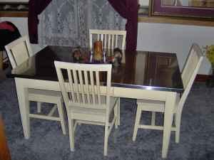 Stainless steel Dining room Table & Chairs/Bakers rack off ...