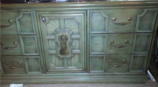 Stanley Furniture Jade Green Solid Wood Bedroom Set For