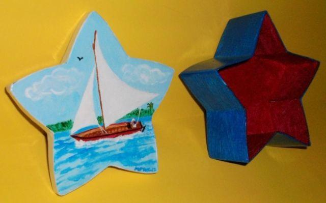STAR SHAPED PAPER MACHE BOXES HAND PAINTED DESIGNS GREAT