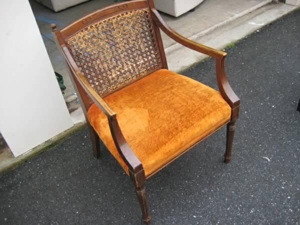 Statesville Chair Company Cane Back Upholstered Chair