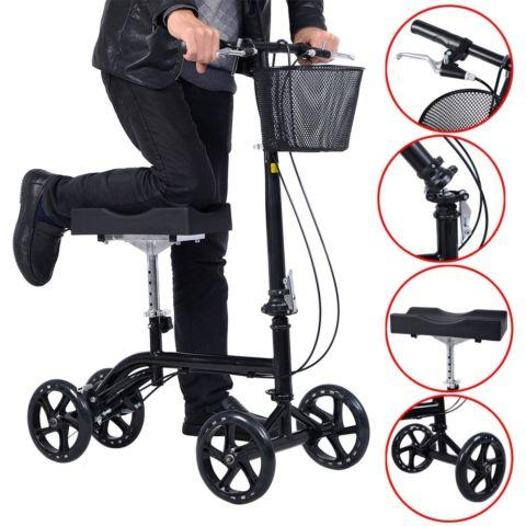 Steerable Foldable Knee Walker Scooter Turning Brake Basket