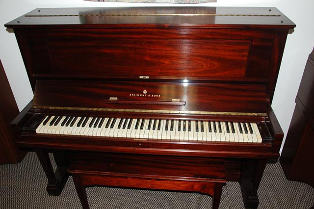 Steinway Upright Piano, Red Mahogany, $7,900