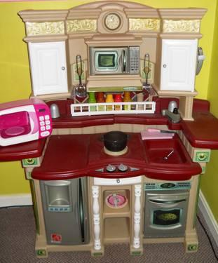 I knew that Step 2 made sounds for them, as we used to have the step 2 deluxe kitchen which did have electric buttons for the microwave and oven. I called step 2 and ordered the electric panels to replace with the stickered panels, since my daughters love to push buttons so much, they arrived and fit perfectly on the kitchen, making it even better/5(K).