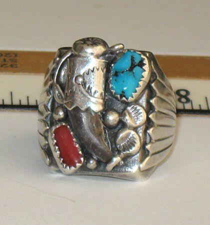 Sterling Silver, Coral & Turquoise Bear Claw Ring -