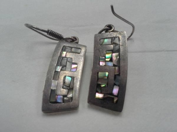 Sterling Silver Mother of Pearl inlay Earrings - $19