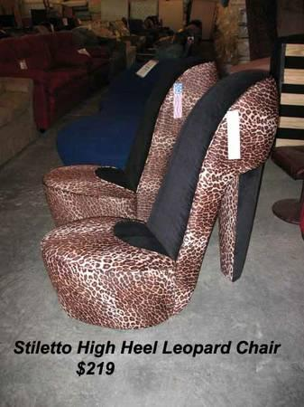 Stiletto High Heel Leopard Or Zebra Print Chairs, Made