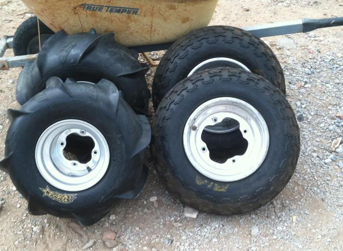 Stock Banshee Knobby and Paddle Tires