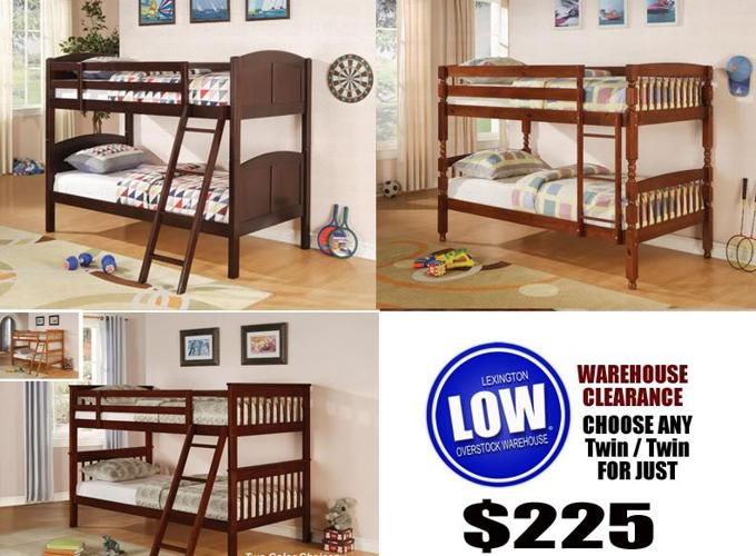 STOP Huge Clearance on DARK CHERRY BUNK BEDS NEW