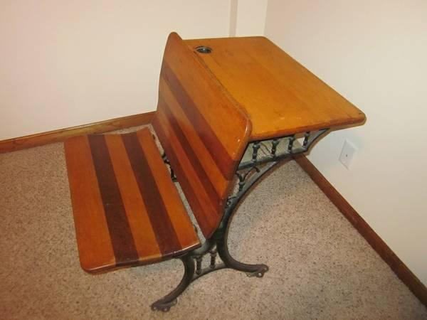Striped Wood Antique School Desk - Great Condition - $50