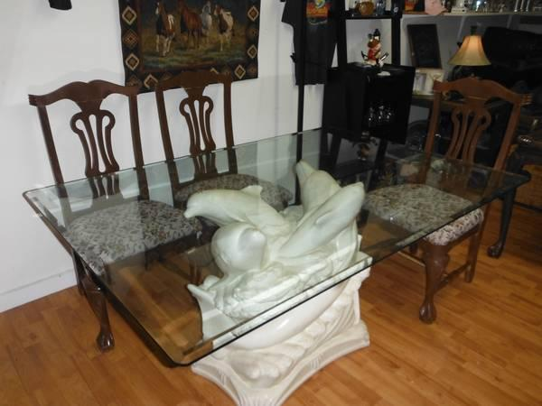 STUNNING Dolphin Glass Top Dining Coffee Table Set For Sale In Fort .