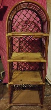 Sturdy Rattan Pole 4 Tier Book Shelf