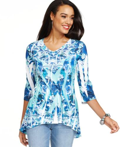 Style&co. Studded Printed Top