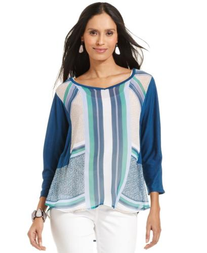 Style&co. Three-Quarter-Sleeve Printed Top