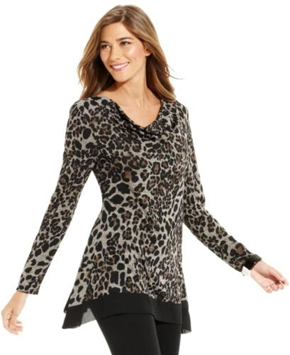 Style&co. Top, Long-Sleeve Cowl-Neck Animal-Print Tunic