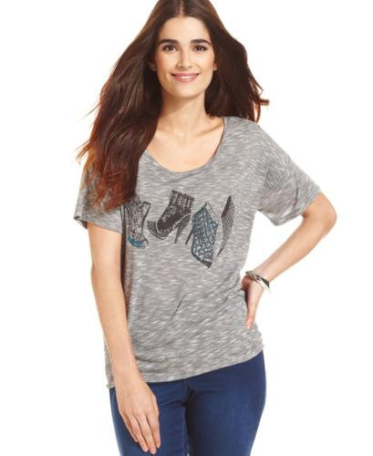 Style&co. Top, Short-Sleeve Printed Embellished Tee