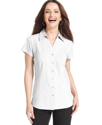 Style co top short sleeve seamed button down shirt for for Best short sleeve button down shirts reddit
