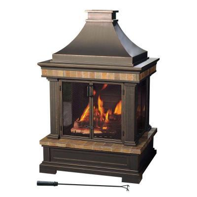 Sunjoy Amherst 35 In Wood Burning Outdoor Fireplace For