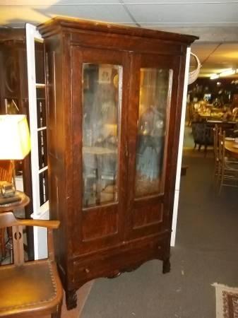 Super tiger oak wardrobe with draw, beveled mirror - $395