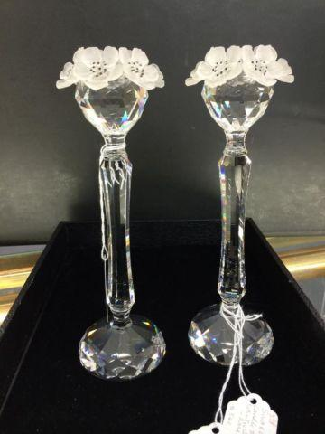 Swarovski Crystal Candle Holders With Satin Glass Flowers