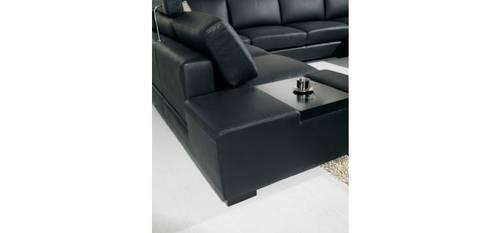 T35   Black Bonded Leather Sectional Sofa With