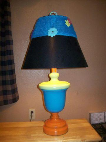 Table Lamp 3' Colorful Turquoise Orange Green with