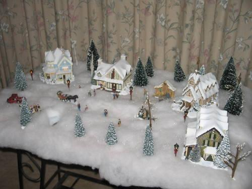 table top lighted christmas village by thomas kinkade