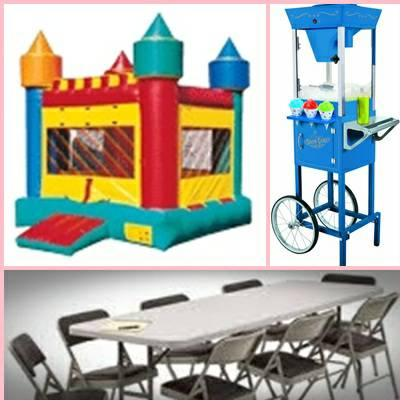 TABLES, CHAIRS, MOONWALKS, WATER SLIDE AND MORE FOR RENT - $7