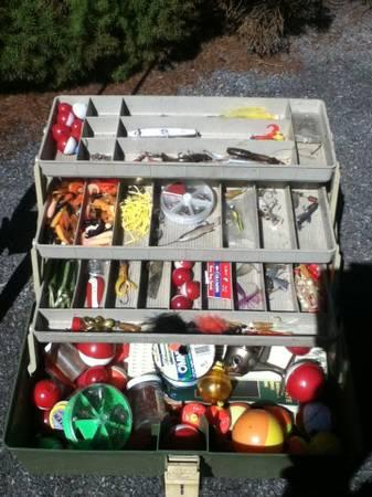 Tackle box and fishing poles - $30