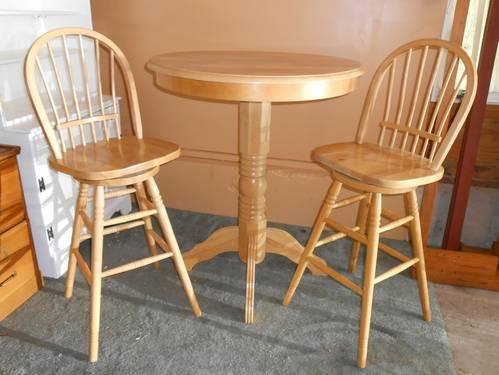 Tall Pub Bistro Bar Table W 2 Chairs Natural Finish Wood For Sale In Wareham