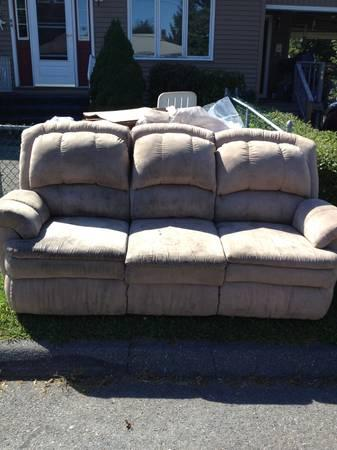 Tan microfiber couch and loveseat with recliners - $100