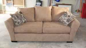 Good Tan Microfiber Couch NEW   $300 (SW Albuquerque)