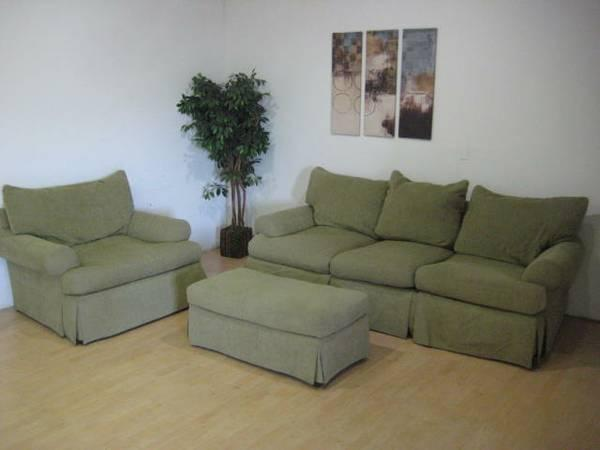 Tan olive chenille sofa ottoman and matching chair set for Chaise and lounge aliso viejo