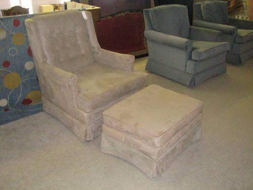 Tan Suede Microfiber Arm Chair And Ottoman For Sale In