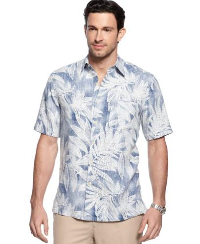 Tasso Elba Big and Tall Shirt, Leaf Silk-Blend Shirt