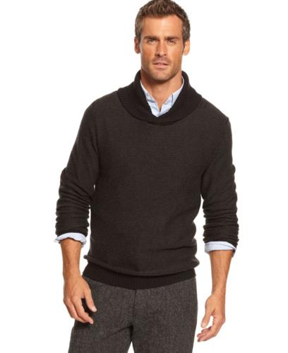 Tasso Elba Sweater, Shawl Collar Silk-Blend Suede Elbow