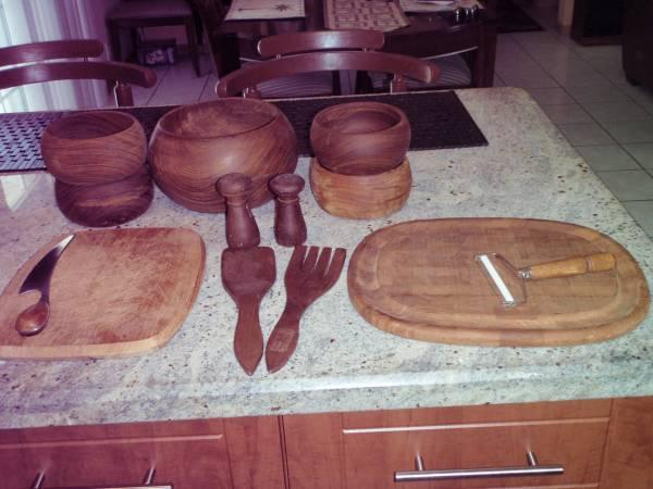 teak salad bowl set - $20