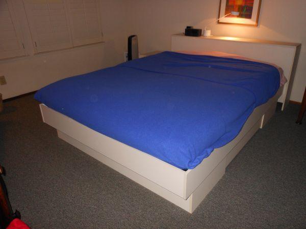 techline queen platform bed headboard and nightstand