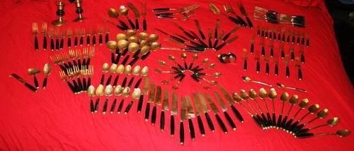 Thai Siam Vintage Bronze or Brass & Horn Flatware set over 140pcs. + ...